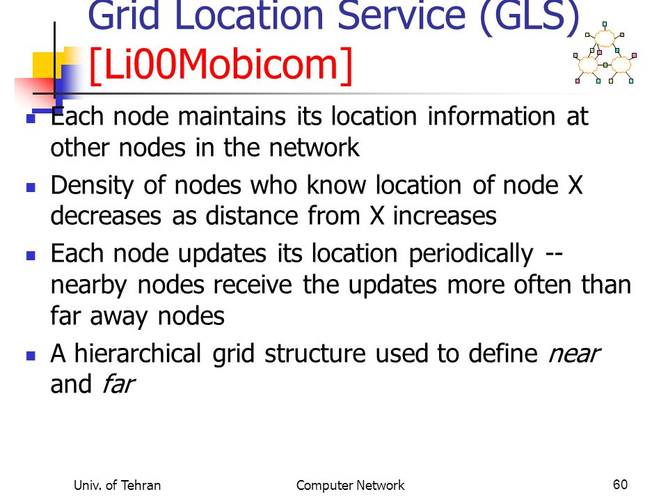 Grid Location Service (GLS) [Li00Mobicom]